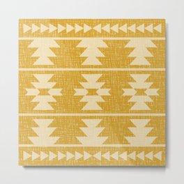 Southwestern Pattern 136 Yellow Metal Print