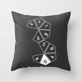Grey Unrolled D10 Throw Pillow