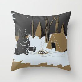 Toasty Bear Campsite Chrome Throw Pillow