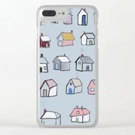 Tiny neighborhood in blue Clear iPhone Case