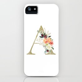 "Letter ""A"" Monogram, Gold Leaf and Watercolor Flowers iPhone Case"