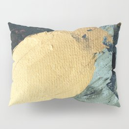 Supernova: an abstract mixed media piece in gold with blues, greens, and a hint of pink Pillow Sham