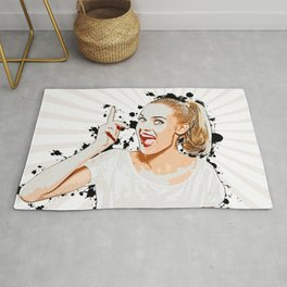 Pop Art, Woman Pointing with Open Mouth Rug