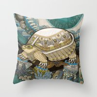 turtle Throw Pillows featuring Turtle by Yuliya