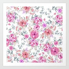 Modern Bohemian pink coral lavender watercolor flowers Art Print
