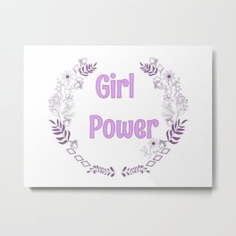 Girl power pink illutration Metal Print