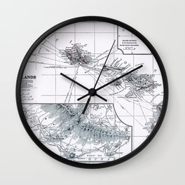 Vintage Hawaii Map 1899 Wall Clock