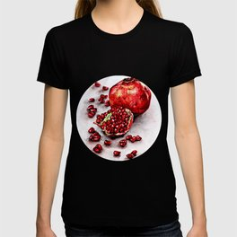 Red pomegranate watercolor art painting T-shirt