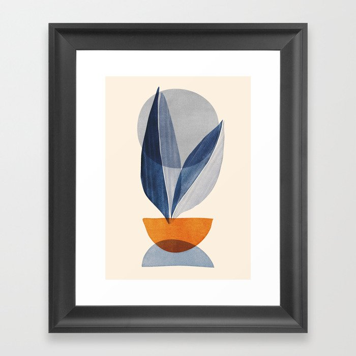 Nature Stack 04 - Abstract Shapes in Navy Blue Framed Art Print
