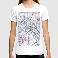 dallas T-shirts featuring Dallas map by MapMapMaps.Watercolors