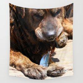 Dog Eating Fish Wall Tapestry