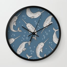 Narwhal  Grey on Navy Blue Wall Clock
