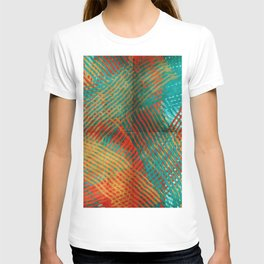 Red and Turquoise Weave T-shirt