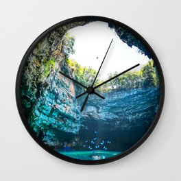 Sea Cave in Greece Wall Clock