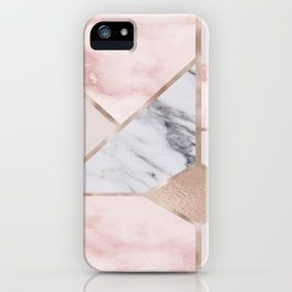 Geometric mix up - rose gold iPhone Case