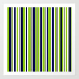 Lime Green Bright Navy Blue Gray and White Vertical Stripes Pattern Art Print