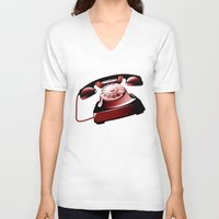 telephone V-neck T-shirts featuring TELEPHONE by Ylenia Pizzetti
