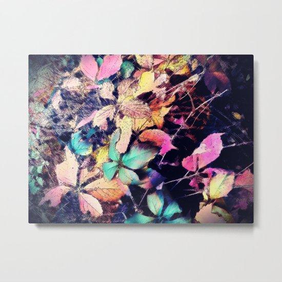 Autumn multi color palette leaves Metal Print
