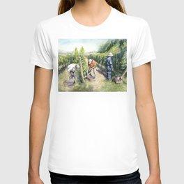 Vineyard Watercolor Landscape Wine Grapes Nature T-shirt