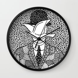 Magritte. Man in a bowler hat. 1964 Wall Clock