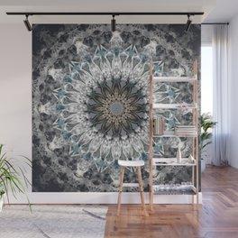 Gray, blue Mandala Wall Mural