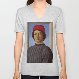 """Sandro Botticelli """"Portrait of a young man with red hat"""" Unisex V-Neck"""