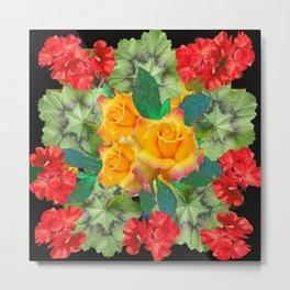 Yellow Roses Red Geraniums Green-Black Patters Metal Print
