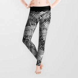 Modern black white pencil hand drawn geometric lines Leggings