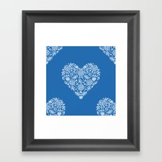 Azure Strong Blue Heart Lace Flowers Framed Art Print