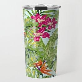 Bird of Paradise Greenery Aloha Hawaiiana Rainforest Tropical Leaves Floral Pattern Travel Mug
