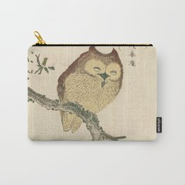 Japanese Woodcut: Owl on a Magnolia Branch Carry-All Pouch