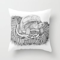 tortoise Throw Pillows featuring Tortoise by Squidoodle
