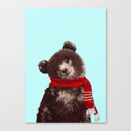 Baby bear in Christmas Mood Canvas Print