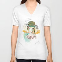 war V-neck T-shirts featuring War girl by Ariana Perez
