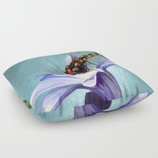 Wasp on flower 11 Floor Pillow