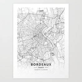 Bordeaux, France - Light Map Art Print