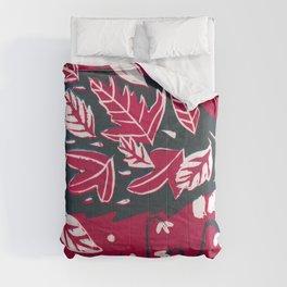 Hedgehog n Autumn Woods - Raspberry Red Palette Comforters