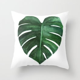 Watercolor Monstera leaf Throw Pillow