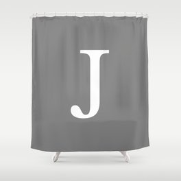 Darker Gray Basic Monogram J Shower Curtain