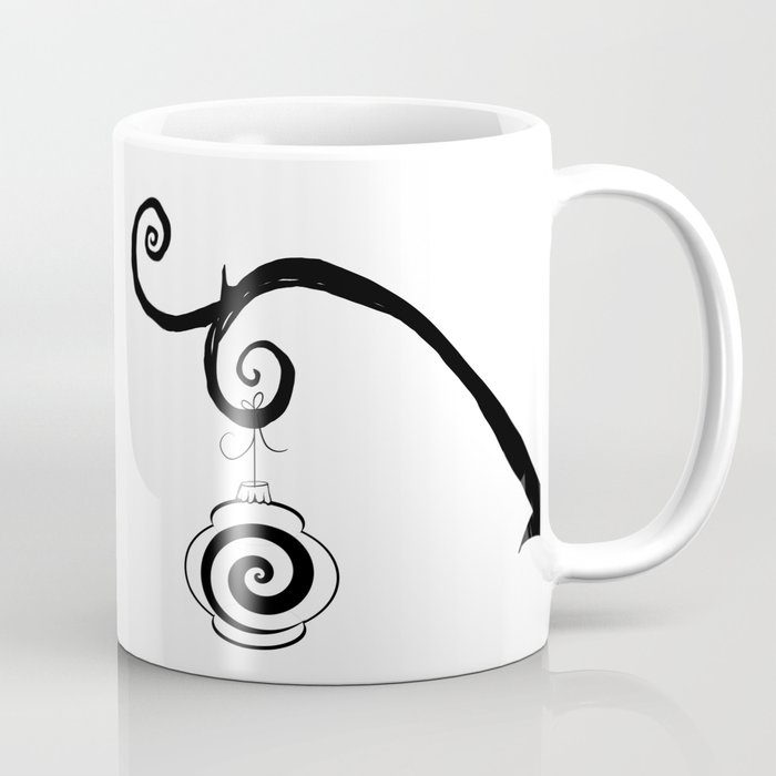 Burtonesque Branch with Ornament 4 / Black on White Coffee Mug