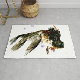 Black Moor, fish art, design cute black fish Rug
