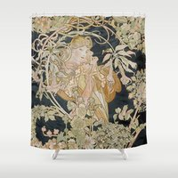 mucha Shower Curtains featuring 1898 - 1900 Femme a Marguerite by Alphonse Mucha by BookCollecting101