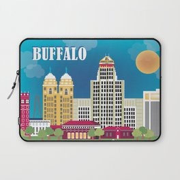 Buffalo, New York - Skyline Illustration by Loose Petals Laptop Sleeve