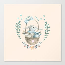 Cute Baby Bunny In a Basket Canvas Print
