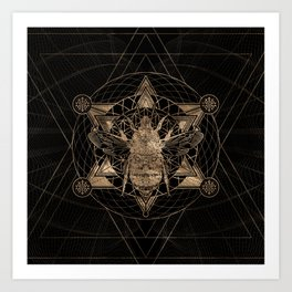 Bumble Bee in Sacred Geometry - Black and Gold Art Print