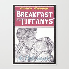 BREAKFAST AT TIFFANYS hand drawn movie poster in pencil Canvas Print