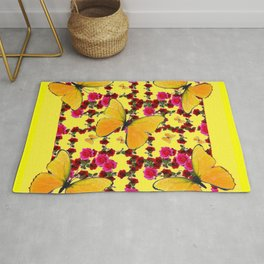 BUTTERFLIES & CLIMBING PINK & RED ROSES IN BUTTER YELLOW Rug