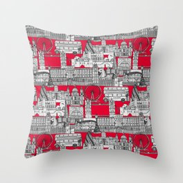 London toile red Throw Pillow