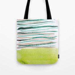 28   |181026 Lines & Color Block | Watercolor Abstract | Modern Watercolor Art Tote Bag