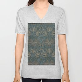 William Morris - Printed Textile Pattern - Peacock and Dragon (1878) Unisex V-Neck